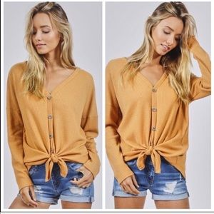 Tops - waffle knit tie front sleeve sweater top mustard